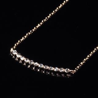 agete - agete アガット ダイヤモンド  0.06ct ラインネックレス K10YG