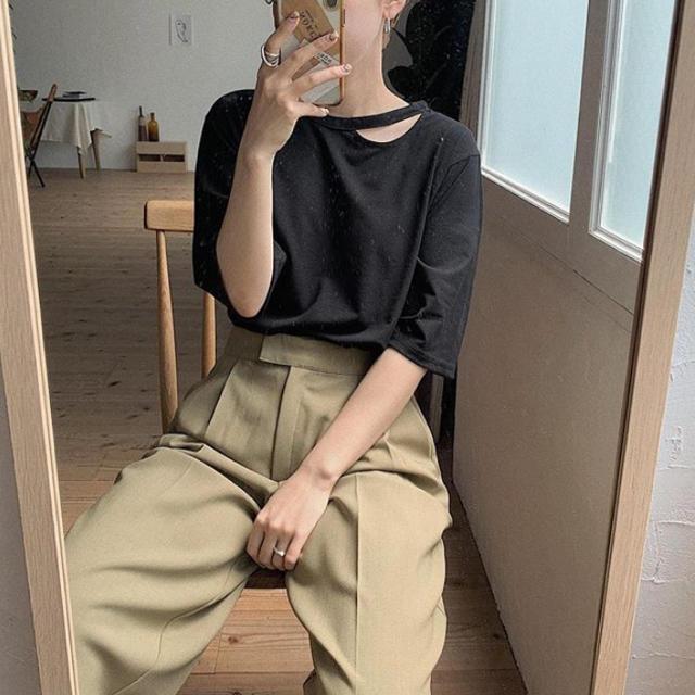 nokcha  cutoff half tee ブラック レディースのトップス(Tシャツ(半袖/袖なし))の商品写真