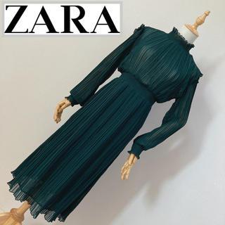 ZARA - ZARA ザラ プリーツワンピース モスグリーン