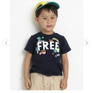 BeBe - シャドーボーダー刺繍風プリントTシャツ