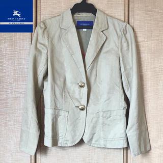 バーバリーブルーレーベル(BURBERRY BLUE LABEL)のバーバリーブルーレーベル パフスリーブ 袖チェック ジャケット (ベージュ)(テーラードジャケット)