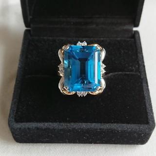 Pt900 K18 ブルートパーズ ダイヤモンド リング 23.03 0.18