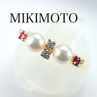 ミキモト(MIKIMOTO)のミキモト K18YG ベビーパール ルビー ダイヤ リング 真珠(リング(指輪))