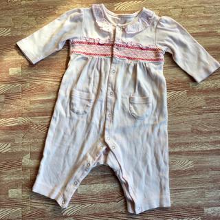 イセタン(伊勢丹)のカバーオール ピンク 刺繍 サイズ70(カバーオール)
