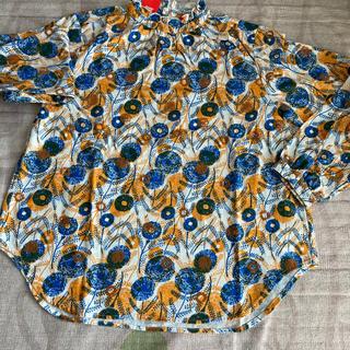 グラニフ(Design Tshirts Store graniph)のグラニフ ギャザーネックロングスリープシャツ(ウォームフラワー)(シャツ/ブラウス(長袖/七分))