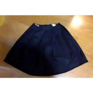 【着用1回】カシミヤ混Reneルネ上品なふんわりフレアースカート黒