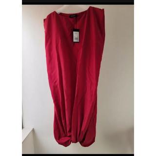 バーバリー(BURBERRY)のJIM THOMPSON シルク ドレス ワンピース 赤 Mサイズ バーバリー(ひざ丈ワンピース)