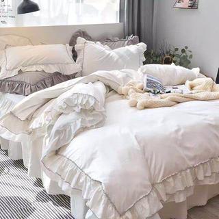 即日発送綿100%フリル寝具カバーセット掛け布団カバーベッドスカート枕カバー