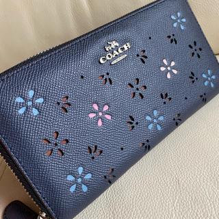 COACH - 【新品】COACH 人気再入荷★ネイビーフラワー かわいい 長財布