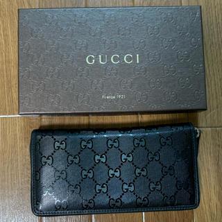 Gucci - GUCCI グッチ 長財布 エナメルレザー 黒