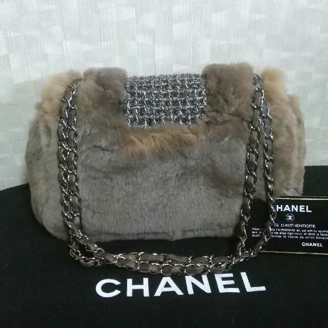 CHANEL(シャネル)の☆正規品 CHANEL チェーン ツィード ファーバッグ 美品☆ レディースのバッグ(ハンドバッグ)の商品写真