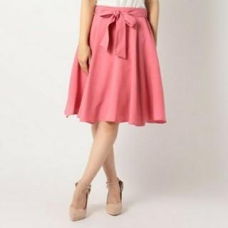 ミッシュマッシュ(MISCH MASCH)のミッシュマッシュ/MISCH MASCH♡共リボン付きフレアースカート赤系♡新品(ひざ丈スカート)