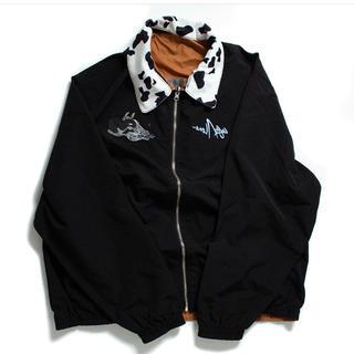 カーハート(carhartt)のLEFT ALONE ナイロンジャケット 黒 リバーシブル ブラック 刺繍(ナイロンジャケット)