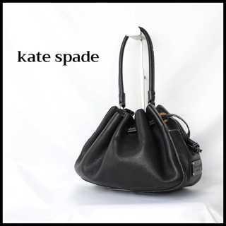kate spade new york -  ケイトスペード★巾着型 ショルダーバッグ グレー ブラック ロゴ レザー