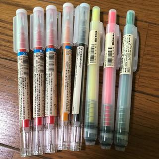 ムジルシリョウヒン(MUJI (無印良品))のこすって消えるボールペンと蛍光マーカー(ペン/マーカー)