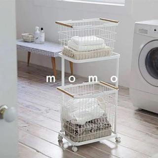2段ラック♡ランドリーワゴン♡ホワイト♡キャスター♡洗濯カゴ♡大容量♡収納♡北欧