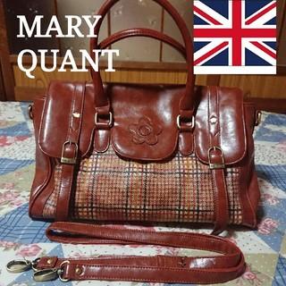 マリークワント(MARY QUANT)のMARY QUANT レザートートバッグ 2way ブラウンチェック柄(トートバッグ)