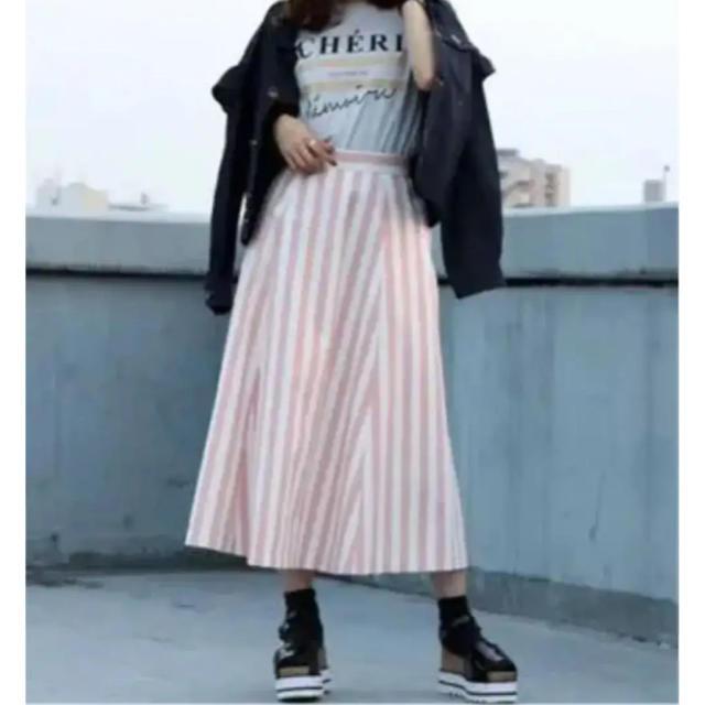 dazzlin(ダズリン)の【値下交渉可】ストライプフレアスカート/着用1回 レディースのスカート(ひざ丈スカート)の商品写真