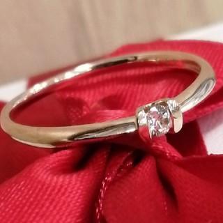 ヨンドシー(4℃)の新品💕K18ピンクゴールド11号ダイヤモンド0.06シンプルリング(リング(指輪))