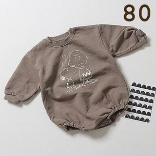SNOOPY - 【80cm】スヌーピーロンパース ブラウン 韓国 ベビー服 子ども服