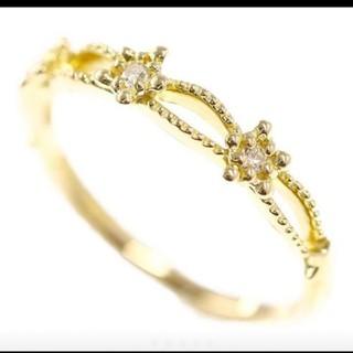 ヨンドシー(4℃)の箱、保証書付き 美品 スタージュエリーK18イエローゴールド☆ピンキーリング(リング(指輪))