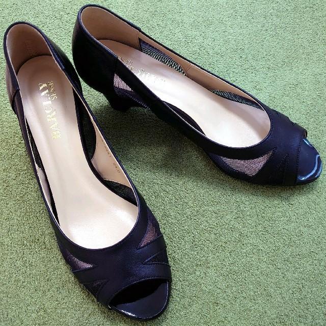 BARCLAY(バークレー)の【バークレー】オープントゥパンプス/チュール素材/黒 レディースの靴/シューズ(ハイヒール/パンプス)の商品写真