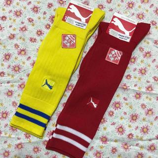 プーマ(PUMA)のプーマスポーツソックス 21cm-23cm あかと黄色 二足 新品サッカー、野球(靴下/タイツ)