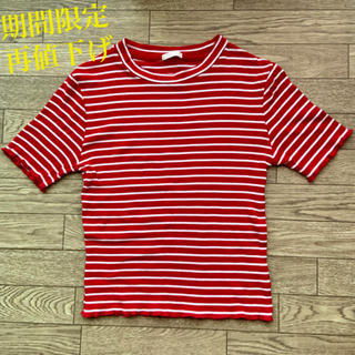 ジーユー(GU)の期間限定再値下げ GU ボーダー Tシャツ カットソー ミニトップス 半袖(Tシャツ(半袖/袖なし))