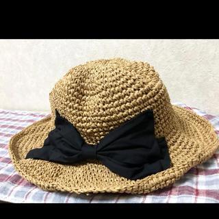 ストローハット 麦わら帽子 リボン ママさん帽子 リボンハット(麦わら帽子/ストローハット)