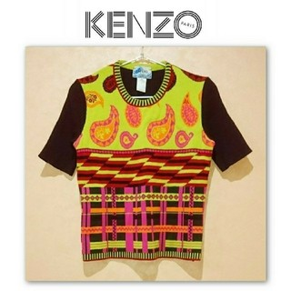 ケンゾー(KENZO)のKENZO jeans ケンゾー ペイズリー 個性 ニット 半袖 セーター(ニット/セーター)