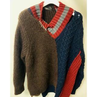 カラー(kolor)のkolor 20aw knit  navy×red size 3(ニット/セーター)