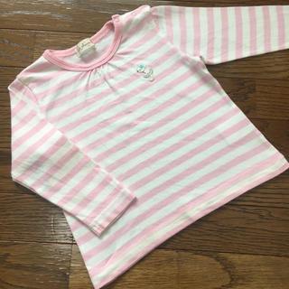 ニットプランナー(KP)の(80㎝)■ケーピー/KP■ピンク×白ボーダーロンT/長袖(Tシャツ)