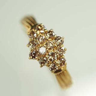 質屋出品ir 天然チョコレートブラウンダイヤモンドリング K18YG 11号(リング(指輪))
