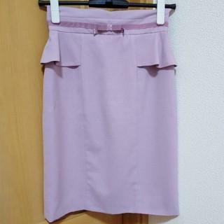 ミッシュマッシュ(MISCH MASCH)のMISCH MASCHウエストマークりぼん付きペプラムスカート♡ラベンダーピンク(ひざ丈スカート)