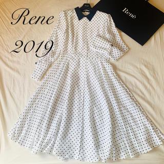 ルネ(René)のHina☆様ご専用 Rene♡ 2019年 襟付きドット柄ロングワンピース(ロングワンピース/マキシワンピース)