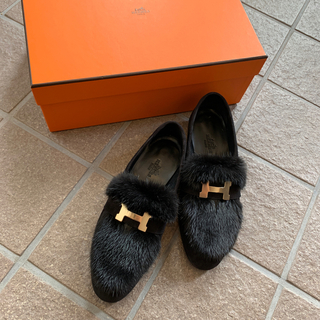 エルメス(Hermes)のエルメス ミンク モカシンパリ ミンクローファー 34 2020aw 新品未使用(ローファー/革靴)