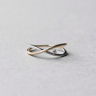エテ(ete)のete K10YG バイカラー ダイヤモンド ピンキーリング(リング(指輪))