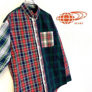 ビームス(BEAMS)の美品 BEAMS コットンBDシャツ チェック柄 メンズM(シャツ)