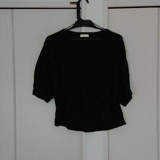 アースミュージックアンドエコロジー(earth music & ecology)のボリュームパフTシャツ 黒(Tシャツ(半袖/袖なし))
