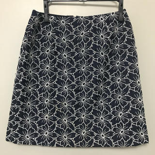 UNITED ARROWS - 花柄 ミニスカート ネイビー S