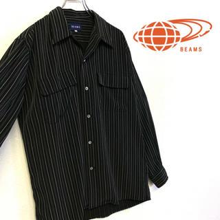 ビームス(BEAMS)の美品 BEAMS ストライプ柄 オープンカラー シャツ メンズM ブラック(シャツ)