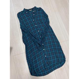 GU - GUチェック柄ロングシャツ  ワンピース