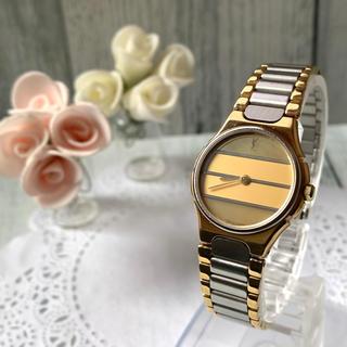 サンローラン(Saint Laurent)の【美品】Yves Saint Laurent  腕時計 ラウンド ボーダー(腕時計)