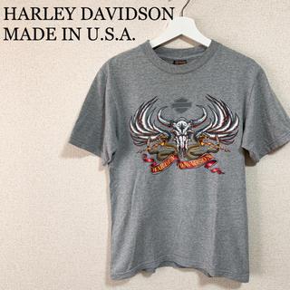 ハーレーダビッドソン(Harley Davidson)のハーレーダビッドソン Tシャツ グレー メンズS USA製 アメリカ製 古着(Tシャツ/カットソー(半袖/袖なし))