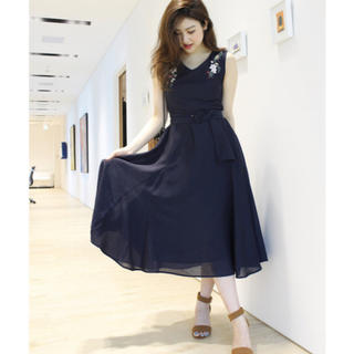 Mystrada - 新品♡マイストラーダの刺繍フレアボイルワンピース♡ネイビー♡38マキシワンピ