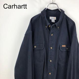 カーハート(carhartt)のカーハート☆ロゴタグ レザーパッチ ネイビー 長袖 ワークシャツ(シャツ)