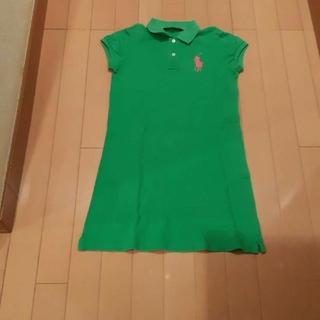 ラルフローレン(Ralph Lauren)のラルフローレン緑×ピンクビックポニー半袖ポロシャツワンピース150サイズ(ミニワンピース)