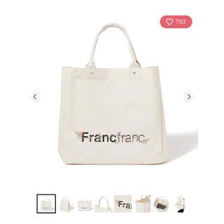 Francfranc - Francfranc ロゴ トートバッグ フラワー刺繍 L