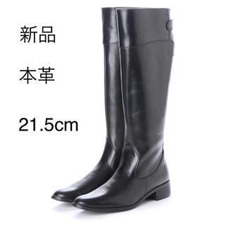 【新品★未使用】本革リアルレザーロングブーツ ジョッキーブーツ黒 ブラック(ブーツ)