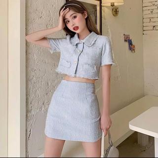 ディーホリック(dholic)の当日発送可能❤韓国ファッションへそ出しツイード水色セットアップ(セット/コーデ)